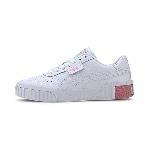 PUMA Damen Cali Jr Sneaker, Weiß White-Peony-Mist Green 09, 37.5 EU