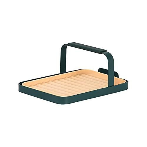 Estante multifuncional para espátulas, utensilios de cocina, cuchara de almacenamiento, mesa portátil y palillos, herramienta de drenaje (verde oscuro)