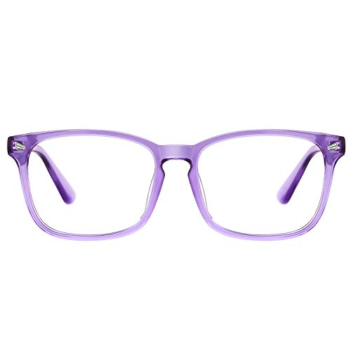 TIJN Blue Light Blocking Glasses for Women Men Clear Frame Square Nerd Eyeglasses Anti Blue Ray Computer Screen Glasses ((11)-purple)
