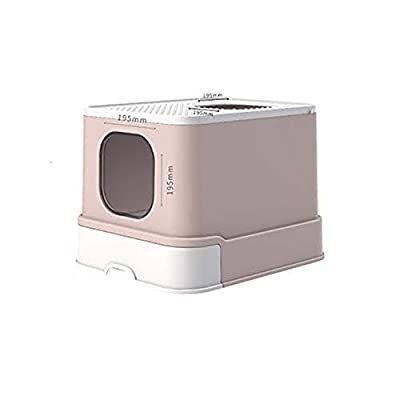 QQRH Cat Flip Litter Tray Covered,litter Tray Large Cat,Litter Tray,cat Litter Box Toilet Box,Jumbo Hooded Cat Litter Tray With Lid,Large Litter Tray Enclosed Pet Litterbox