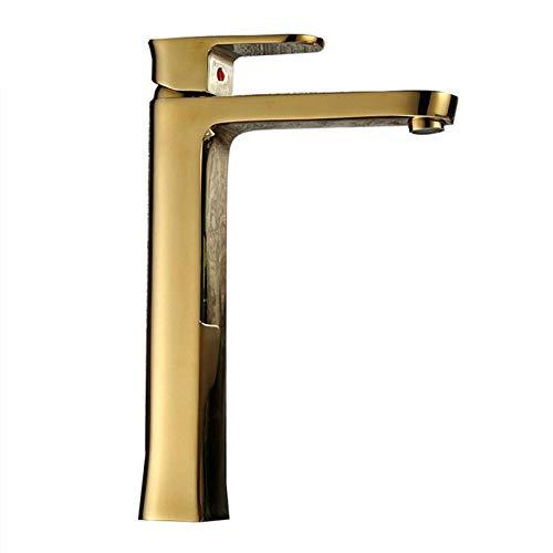 Grifo de lavabo Placa dorada Nobleza Oro Cubierta fría y caliente Material de cobre montado Copa de vino Toilette Fregadero y vasija Mezclador Grifo M239 Oro 763