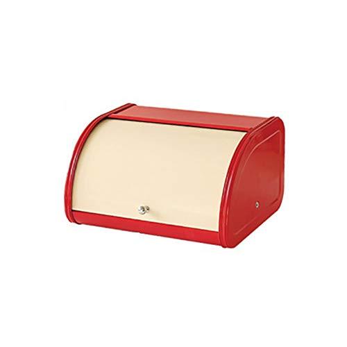 MBMF Cajas De Almacenamiento De Alimentos para El Hogar, Hoja De Hierro Nórdica, Caja De Pan para Hornear, Caja De Almacenamiento De Hoja De Hierro para Aperitivos(Color:Rojo,Size:30x26x17cm)