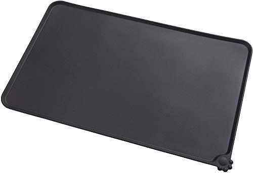 Zollyss Silicone Dog Cat Bowl Mat Non-Stick Food Pad Water Cushion Waterproof-1Pcs,Black