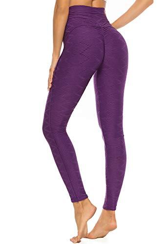 FITTOO Leggings Mallas Mujer Pantalones Deportivos Yoga Alta Cintura Elásticos y Transpirables1500#3 Morado Grande