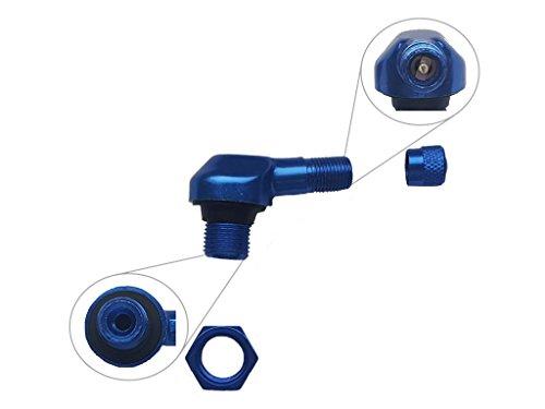 Alu Eckventil BZW. abgeflachtes Motorrad Auto Reifen Autoventil abgewinkelt. Farbe Blau. Aluminium