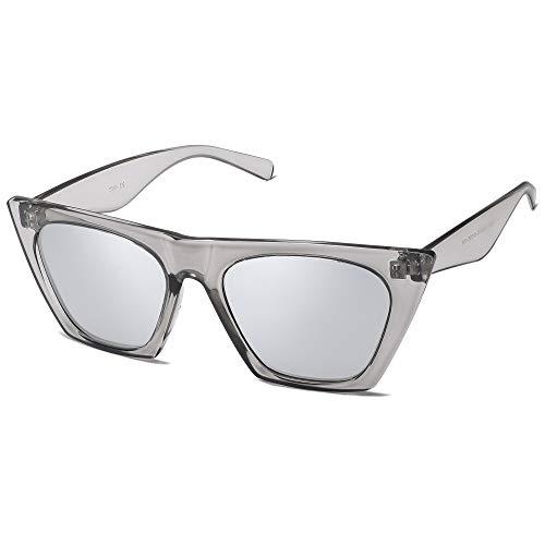 SOJOS Gafas de sol polarizadas vintage Cateye para mujer, con marco grande SJ2115, Gris transparente/plateado, Mediano