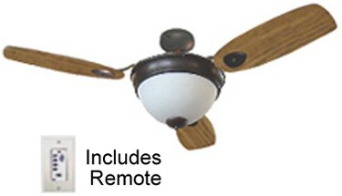 Big Sale Ceiling Fan with Light & Remote. Has up to 33% more light, 180 watt 3 bulb light, matte white glass. 56-inch Oil Rubbed Bronze fan. 3-4-5 blade set up. Blades are Cherry or Walnut. Remote Control Operates 3 speeds, Reverse, Light and dimming. All parts Included.