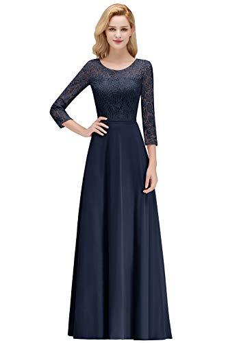 MisShow Ballkleider Damen Kleid Chiffon Lang Hochzeitskleider Abendkleider Lang Blau