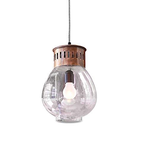Loberon Hängelampe Annoix, Glas, Eisen, H/Ø ca. 36/21 cm, klar/braun, E27, max. 25 Watt, von A++ bis E