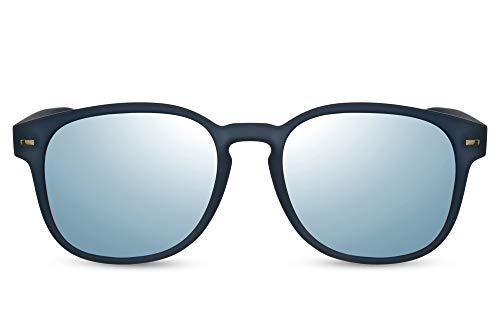 Cheapass Sunglasses Gafas de sol Rectangular Redondo Marco azul con lentes plateados Espejados Flash Accesorio Hipster Mujeres Hombres Protección 100% UV-400
