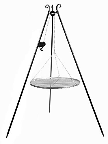 KORONO 5900105401939 Schwenkgrill mit Kurbel 180 cm Grillrost, Edelstahl, 102 x 70 x 11 cm