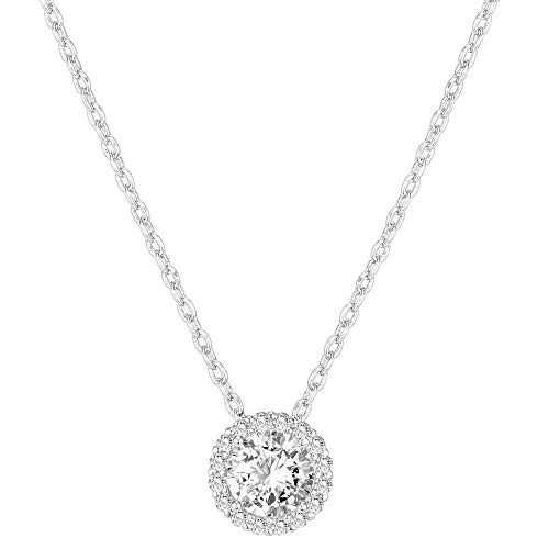 PAVOI 14K Gold Plated Post Faux Diamond Round Solitaire Pendant Halo Necklace in White Gold