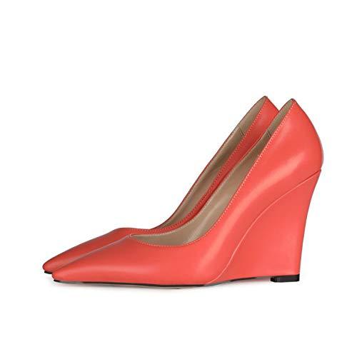 XIANWFBJ Tacones Altos, Nuevos Zapatos Casuales Puntiagudos para La Primavera Y Verano De 2021, Tacones De Cuña para Uso Diario (Rosa, Azul, Verde, Naranja),Orange Red,43