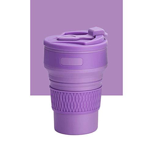 Copas de café plegables sin BPA 350 ml botellas de agua de silicona líquida, para viajes, tazas de té de grado alimenticio (color: violeta)