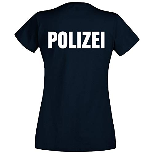 Shirt-Panda Damen Polizei T-Shirt - Druck Brust & Rücken Reflex Dunkelblau (Druck Weiß) M
