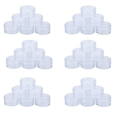 50 Pcs Kit De Botellas Viaje Transparentes con Tapa PláStico PortáTil Mini Juego Viaje Paquete Muestra Crema Facial Botella Subenvasada UngüEnto Crema Manicura Vacía Caja Redonda (3g)