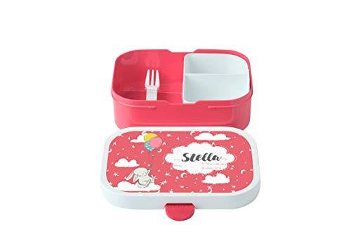 wolga-kreativ Brotdose Hase Luftballon mit Namen pink Rosti Mepal Obsteinsatz für Mädchen Jungen Lunchbox Bento Box personalisiert Brotbüchse Brotdosen Kindergarten Schule