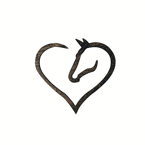 Jxueych Wooden Horse Heart Sign - Gift for Horse Lover Horse Heart Wood Sign Horse Love Sign Gift for Horse Lover Pony Lover Sign (Horse)