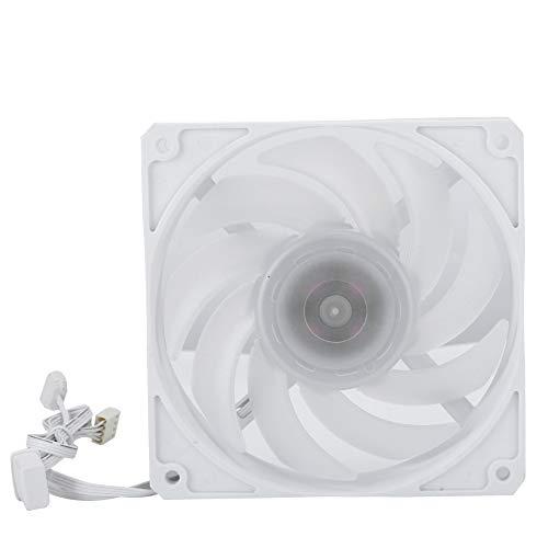 Ventilador de refrigeración de CPU, 12CM 12V 2400 RPM 77 CFM Ultra silencioso Ordenador Cuadrado CPU Refrigerador Ventilador Disipador de Calor(Blanco)