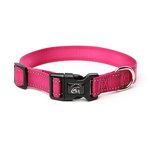 MRBJC Collar reflectante para perro con hebilla ajustable de nailon de seguridad para perros pequeños, medianos y grandes, color rojo rosa 2,5 x 70 cm
