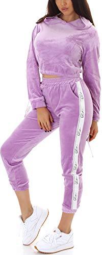 Jela London Damen Velour Hausanzug Nicki Trainingsanzug Jogginganzug High-Waist, Lavendel 40-42 (L/XL)