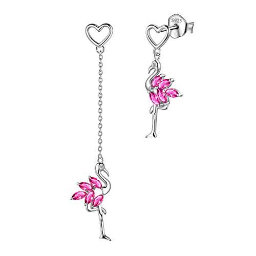 Aurora Tears 925 Sterling Silber Flamingo Asymmetrie Ohrringe Juli Birthstone Red Rubin Ohrstecker Tier Schmuck Geschenk für Frauen und Mädchen DE0152R