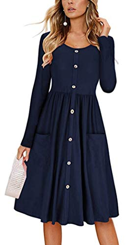 Itemnew Womens Crewneck Dec-Button Fit and Flare Knee Length Pleated Dress Pockets (X-Large, Navy Blue)