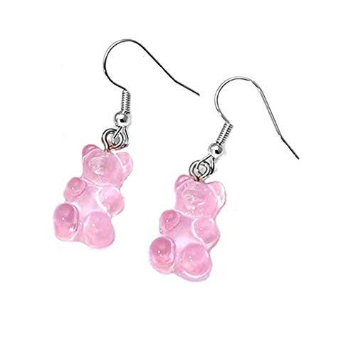 Gummy Candy Bear Earrings Tukcherry Resin Bear Drop Colorful Cartoon Dangle Drop for Women (Pink)