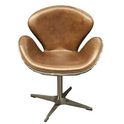 Casa Padrino Art Deco Schreibtisch Stuhl Echtleder Hellbraun/Aluminium Drehstuhl Drehsessel - Chefsessel - Air Wing Flugzeug Vintage Sessel Stuhl