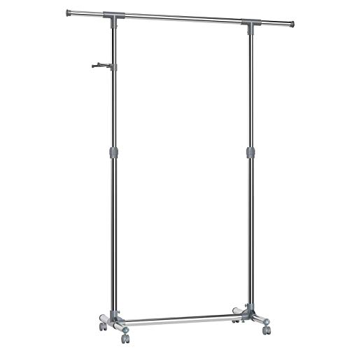 SONGMICS Adjustable Garment Rack, Coat Hanging Rail, Clothes Stand with Wheels, Stainless Steel Clad Pipe, Additional Coat Hook, Grey LLR01G