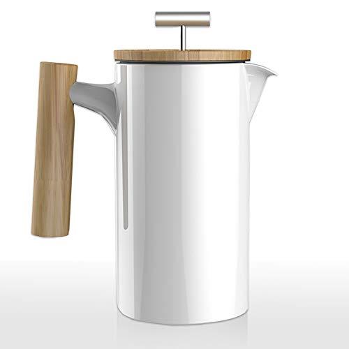 Mano Nordic French Press aus Keramik | 0,75 Liter Kaffee-Bereiter | umweltfreundliche Kaffee-Presse Coffee-Press Espressokocher (weiß glänzend)