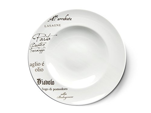 CreaTable - EUROPA GUSTOSO - Pastateller 30,5 cm aus Porzellan mit Schriftdekor
