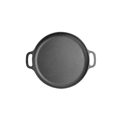 Lazxcnvbg sarten Wok, Cacerola de Hierro Fundido Antiguo, sartén, sartén no bastón sin Recubrimiento, nixid, Estufas de Gas adecuadas (28 * 2.6 cm) Negro