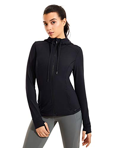 CRZ YOGA Women's Brushed Full Zip Hoodie Jacket Sportswear Hooded Workout Track Running Jacket with Zip Pockets Black Small