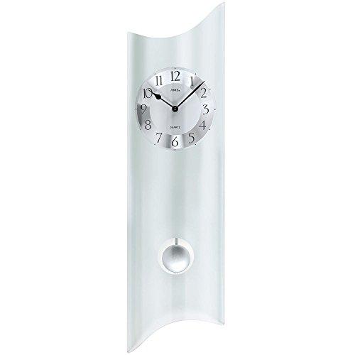 Ams Orologio al quarzo con pendolo moderno orologio a pendolo di design, orologio da parete in vetro satinato.