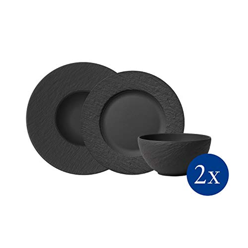 Villeroy & Boch - Manufacture Rock Starter-Set, 6 tlg., Premium Porzellan, spülmaschinen-, mikrowellengeeignet, schwarz
