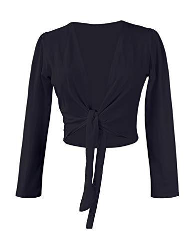 Black Adult Women Ballet Wrap Top Cropped Dance Sweater for Leotards