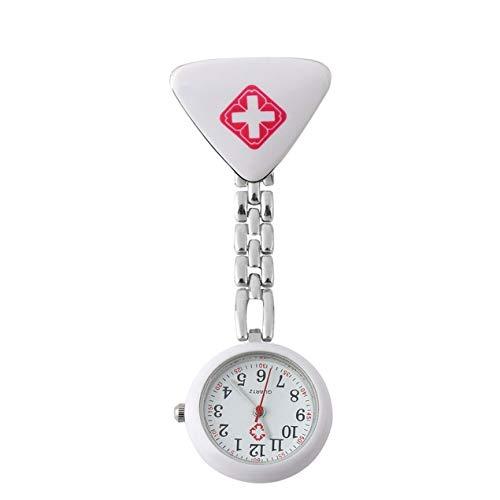 DBSUFV Moda Enfermera médica Relojes de Cuarzo Acero Inoxidable Redondo Triangular Enfermera médico Reloj Colgante médico Reloj de Bolsillo