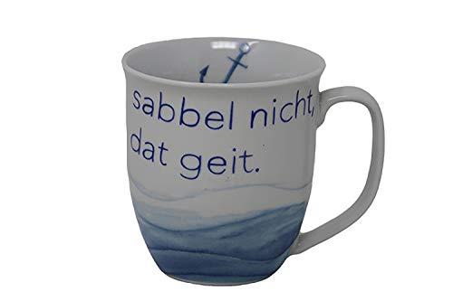 osters muschel-sammler-shop Becher/Krug/Teebecher Sylt ┼ Porzellan 9,7x9,5cm┼ 300ml ┼ Maritim Strand ┼ Sprüche (Sabbel Nicht dat geit)