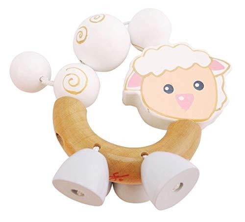BIECO 44011011 Figure hochet Betty, en forme d'anneau hochet en bois avec Betty, moutons blancs, saisir hochet pour les bébés de la naissance