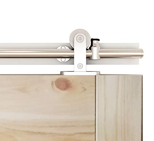 2m Stainless Steel Sliding Door Kits Barn Hardware Closet Set Modern Style Track System For Single Wooden Door HOMCOM 6.5FT