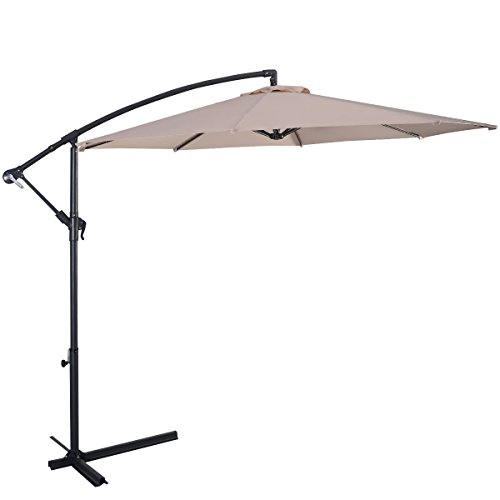 10ft Adjustable Hanging Outstretched Umbrella Patio Outdoor Furniture Set for Outdoor Deck Garden Beach Patio or Poolside. (Beige)