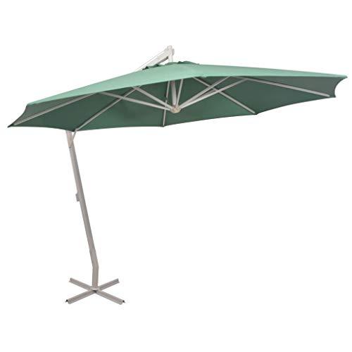Festnight Zweefparasol met aluminium paal Tuin Parasol Paraplu Buiten Zonnescherm voor Patio/Strand/Zwembad Parasols UV50 + 350 cm groen