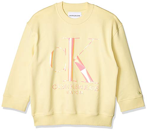 Calvin Klein Iridescent Monogram Crew Neck Sudadera, Amarillo (Mimosa Yellow Zhh), 38 (Talla del Fabricante: Medium) para Mujer