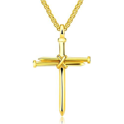 Flongo Kors hänge halsband, mäns religiösa rostfritt stål spik kors hänge halsband, polerad kristen krusifix hänge halsband till jul alla hjärtans bröllop dag e rostfritt stål, colore: Guld, cod. F124003