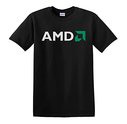 Linqi AMD Shirt American Multinational Semiconductor Company Black White T Shirt Man T-Shirt 100% Cotton Sleeve Shirt Black XL