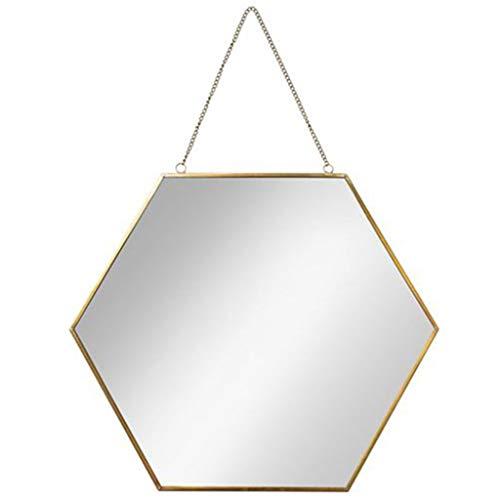 Accesorios de baños Espejo de baño Hexagonal Marco de latón Espejos de Metal montados en la Pared Sala de Estar Decorada Espejo Mural Diseño Moderno 1: 1 (Tamaño : Diámetro 40cm)