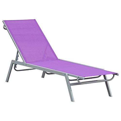Outsunny Bain de Soleil transat - Chaise Longue - Design Contemporain - Dossier inclinable Multi-Positions - métal époxy textilène Mauve - dim. 170 x 58 x 97 cm