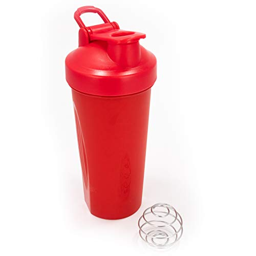 Idouma Protein Shaker Bottle w/Straw 20 oz Red   Tumbler Mixer Blender w/Ball Loop Top   Spill and Leak Proof   Great Bottle for Workouts and Exercise Mixes