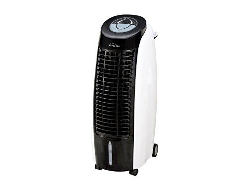 PURLINE RAFY 100 Raffrescatore evaporativo, Umidificatore, Ionizzatore, Flusso 1800 m3/h, Lamelle oscillanti, ABS, Bianco e Nero